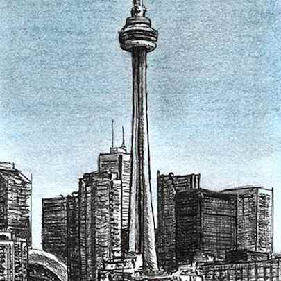 CN Tower, Toronto - Drawings - Originals, prints and limited editions