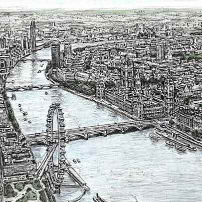 Aerial view of Houses of Parliament (Limited Edition of 75) - Drawings