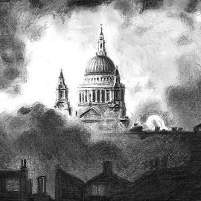 Drawing of St Pauls Cathedral in the blitz