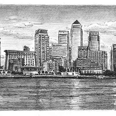 Canary Wharf & River Thames - Original Drawings