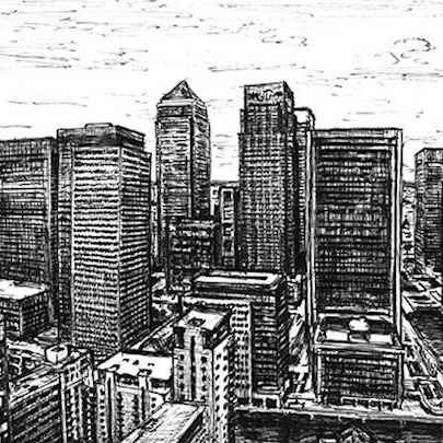 View of Canary Wharf from Pan Peninsula - Original drawings