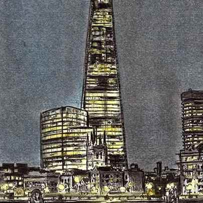 The Shard at night - Drawings - Originals, prints and limited editions