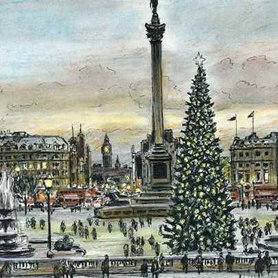 Drawing of Trafalgar Square on a Christmas evening
