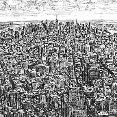 View of midtown Manhattan from the Freedom Tower - Drawings - Originals, prints and limited editions