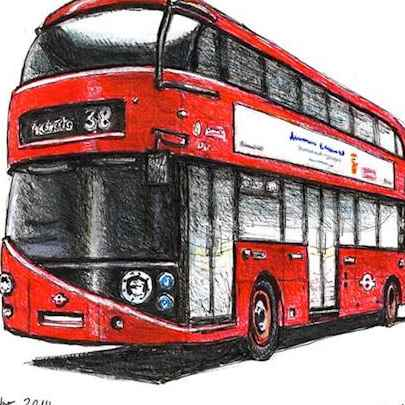 The new Routemaster bus - Drawings - Originals, prints and limited editions