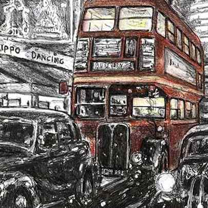 RT London bus on a winters night - Drawings - Originals, prints and limited editions
