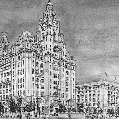 Liver Building, Liverpool - Drawings - Originals, prints and limited editions
