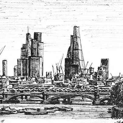 City of London skyline from Waterloo Bridge - Drawings - Originals for sale