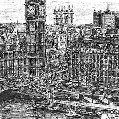 Big Ben and the River Thames - Drawings - Originals for sale