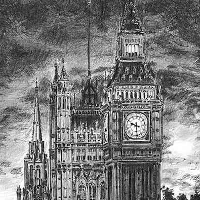 Drawing of Big Ben at night