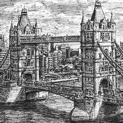 Tower Bridge (London) - Drawings - Originals for sale