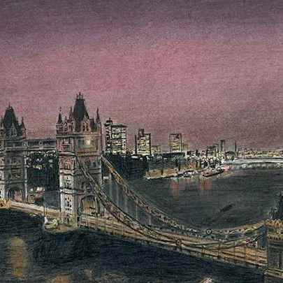 Tower Bridge at night - Drawings - Originals, prints and limited editions