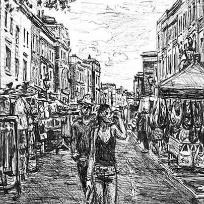 Portobello Market (London) - Drawings - Originals for sale
