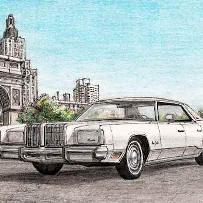 1978 Chrysler New Yorker Brougham Sedan Hard Top - Drawings - Originals, prints and limited editions