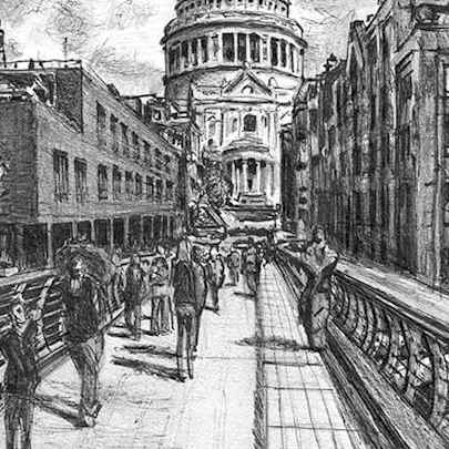 Drawing of St Pauls from the Millennium Bridge