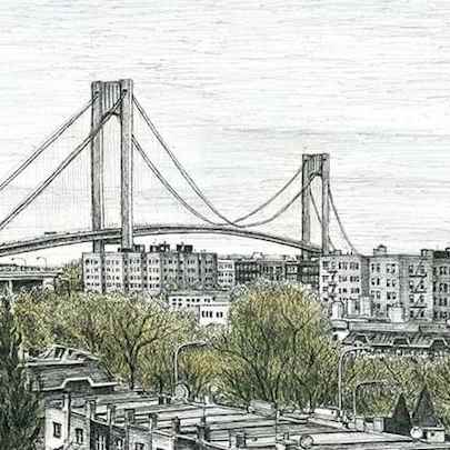 Verrazano Narrows Bridge - Drawings - Originals for sale
