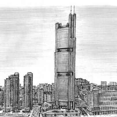 Shardsworld Tower (imaginary drawing) - Drawings - Originals, prints and limited editions
