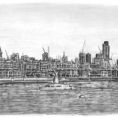 View of St Pauls Cathedral and Millennium Bridge - Original drawings