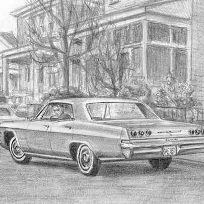 1965 Chevrolet Impala - Drawings - Originals, prints and limited editions