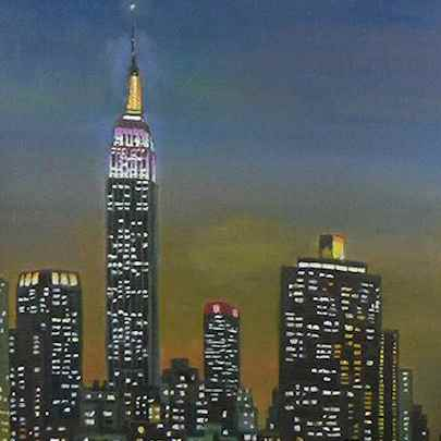 Empire State Building at night - Original drawings