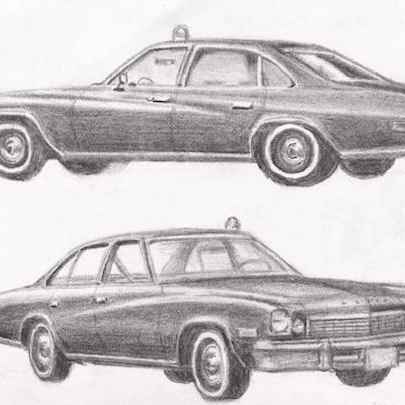 Kojaks 1973 Buick Century - Drawings - Originals, prints and limited editions