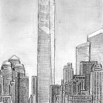 Freedom Tower - Drawings - Originals, prints and limited editions