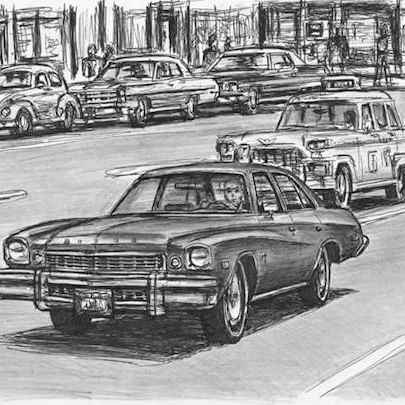 Drawing of TV series Kojak Buick Century
