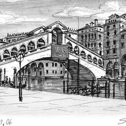 Rialto Bridge Venice - Original drawings