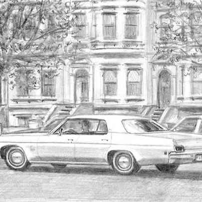 Drawing of 1973 Oldsmobile Delta 88 Sedan Hard Top