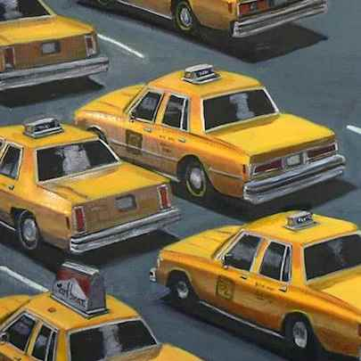 Taxis in traffic - Paintings - Originals, prints and limited editions