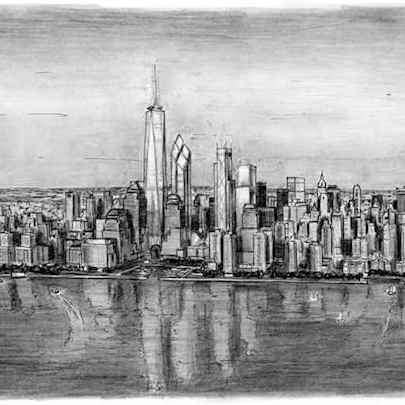 Aerial view of Freedom Tower - Drawings - Originals, prints and limited editions