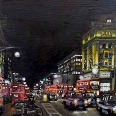 Oxford Circus at night - oil on canvas (16.5 inch)1 - Prints for sale