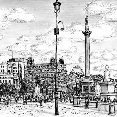 Trafalgar Square London - Drawings - Originals, prints and limited editions