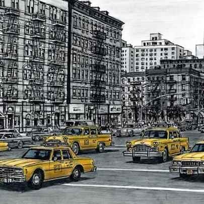 The Artwork Street scene with New York taxis