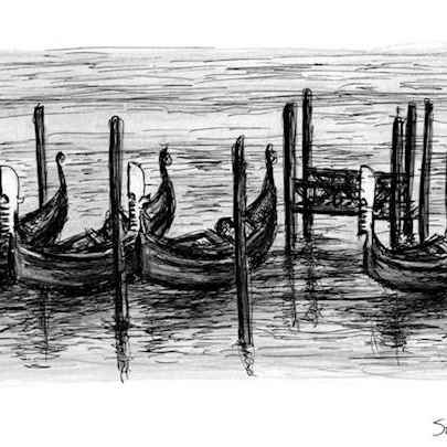 Gondolas on water in Venice - Drawings - Originals, prints and limited editions