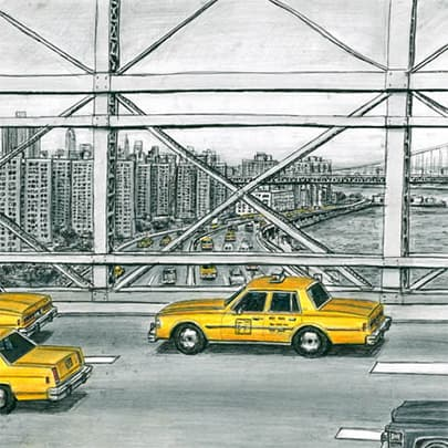 Drawing of Some New York taxis from Brooklyn Bridge