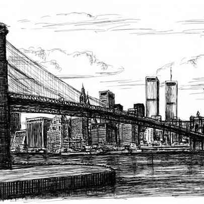 Memory drawing of Manhattan Skyline - Drawings - Originals, prints and limited editions