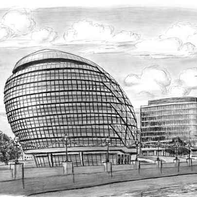 New Mayors Office City Hall - Drawings - Originals, prints and limited editions