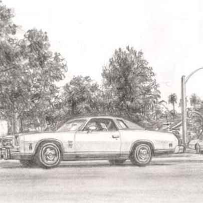 1974 Chevrolet Laguna - Drawings - Originals, prints and limited editions