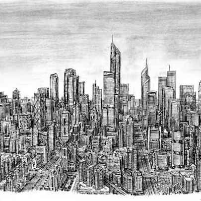 Imaginary Skyline (an ideal city) - Drawings - Originals, prints and limited editions