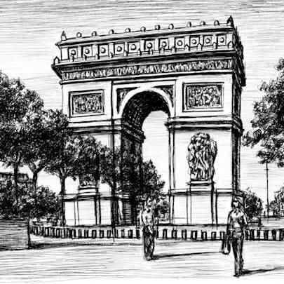 Arc de Triomphe Paris - Drawings - Originals, prints and limited editions
