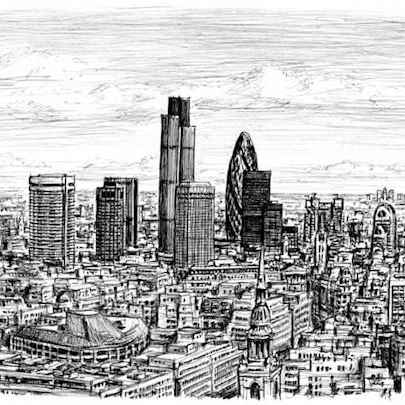 London City Skyline - Drawings - Originals, prints and limited editions