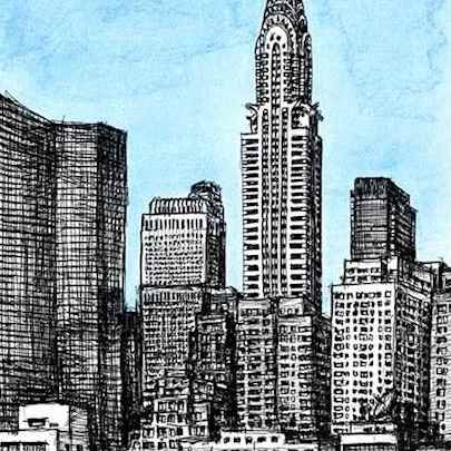 Birds eye view of Chrysler Building NY - Drawings - Originals, prints and limited editions