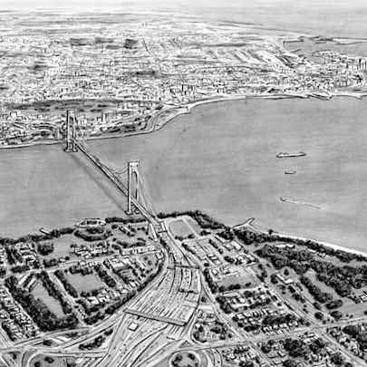 Aerial view of Verrazano Narrow Bridge US - Drawings - Originals, prints and limited editions