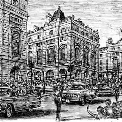 Drawing of Regent street showing American cars driving down