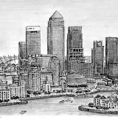 Canary Wharf - Drawings - Originals, prints and limited editions