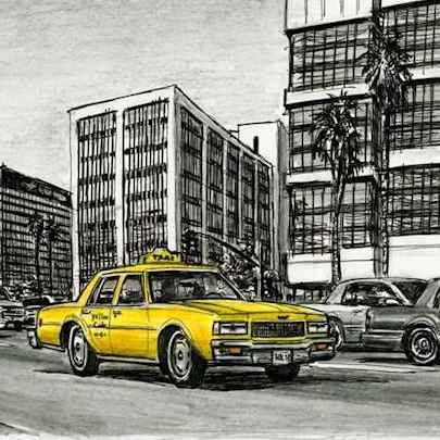 Yellow Taxi passing by Wilshire Boulevard - Drawings - Originals, prints and limited editions