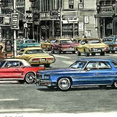 Lots of american cars on the streets of New York City - Drawings - Originals, prints and limited editions