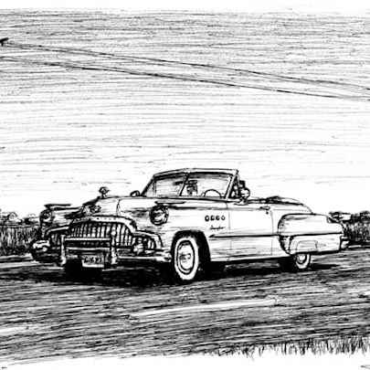 1949 Buick Roadmaster Convertible - Drawings - Originals, prints and limited editions