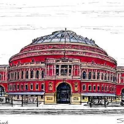 Drawing of Royal Albert Hall in colour